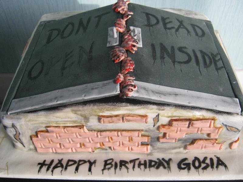 Gosia - Walking Dead themed birthday cake in chocolate sponge for Gosia of Blackpool.