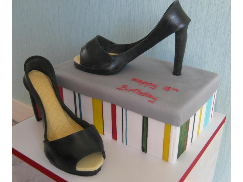 Stilettos and Shoe Box chocolate sponge for Bethany Jane in Marton