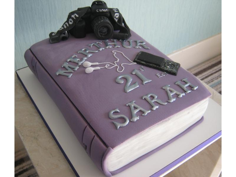 Bookworm - with camara and IPod in Madeira sponge for Sarah in Fulwood