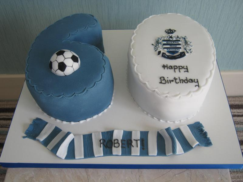QPR 60th Birthday cake in chocolate sponge for Robert from Blackpool