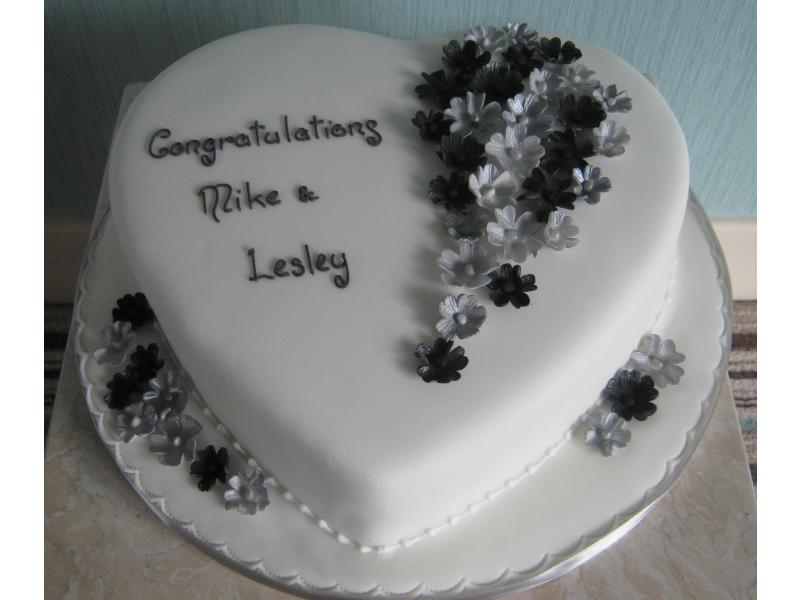 Classy Engagement Cake in black and silver from Madeira sponge for Mike and Lesley in Bispham