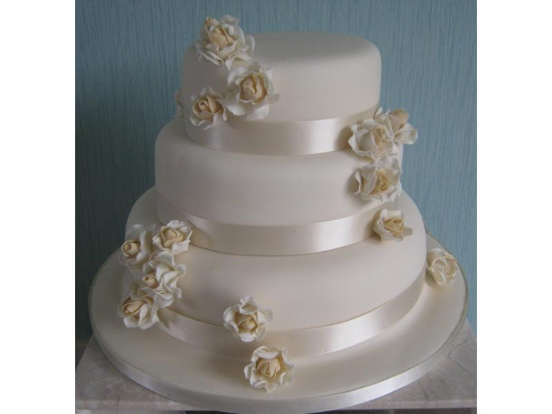 Simply Ivory 3 tier Wedding Cake in plain sponge, chocolate sponge and fruit cake for wedding at Bartle Hall