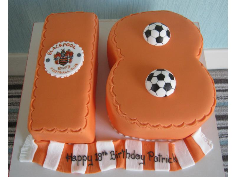 Blackpool FC themed cake in plain sponge and chocolate sponge for Blackpool fan Patrick's 18th birthday