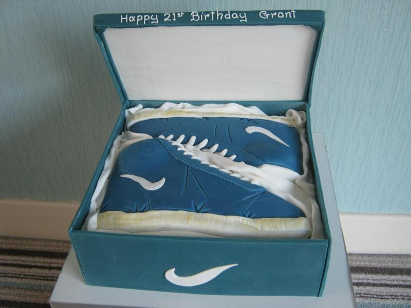 Nike Trainers  in blue in shoe box (all edible) for Grant in Fleetwood celebrating his 21st birthday