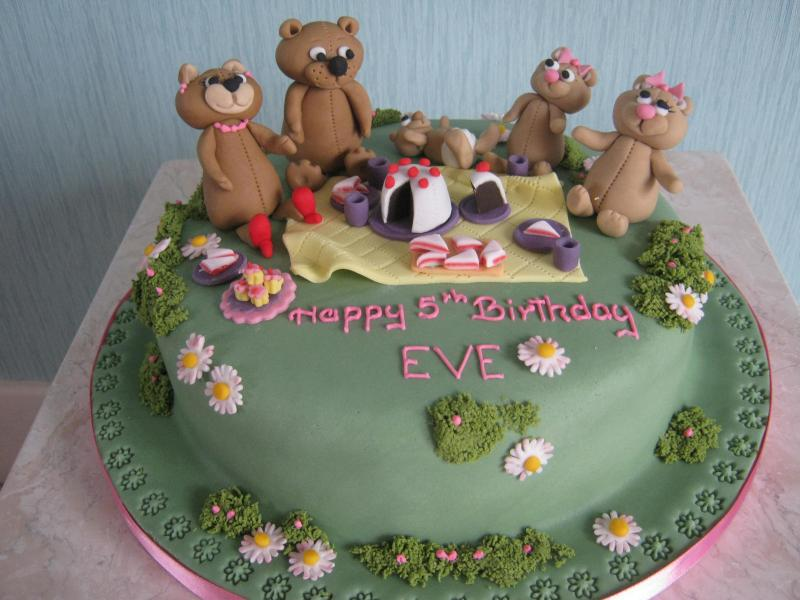 Teddy Bears Picnic with Daisies with chocolate sponge for Eve's birthday in Norbreck