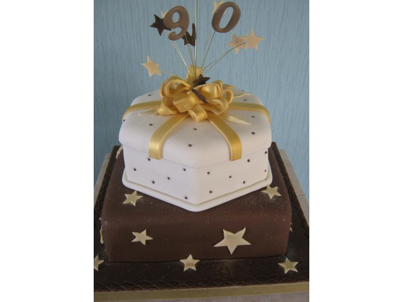 Rachel - chocolate starburst birthday cake in plain and chocolate sponges for Rachel of Poulton