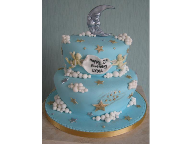 Cherubs and Moon coming of age cake in sponge for Lydia of Preston