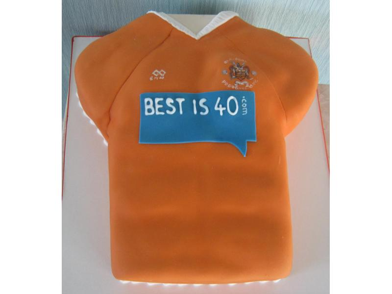 Blackpool FC shirt in chocolate sponge for Ian's 40th birthday in Cleveleys