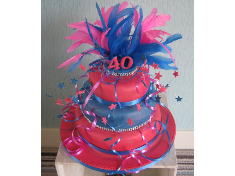 Lucy's Splash of Colour 3 tier cake in chocolate and Madeira sponges for her 40th birthday at Blackpool FC restaurant
