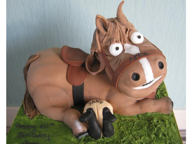 Jane (Comical Horse) fun cake in vanilla sponge for Jane's 40th birthday  in Preston