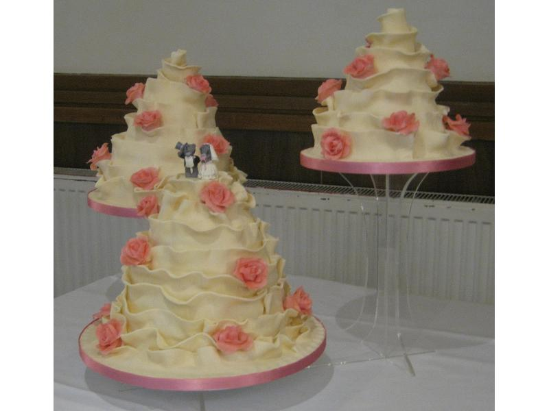 Nicola 3 tier offset Wedding Cake in Madeira sponge and coated in white chocolate sugarpaste