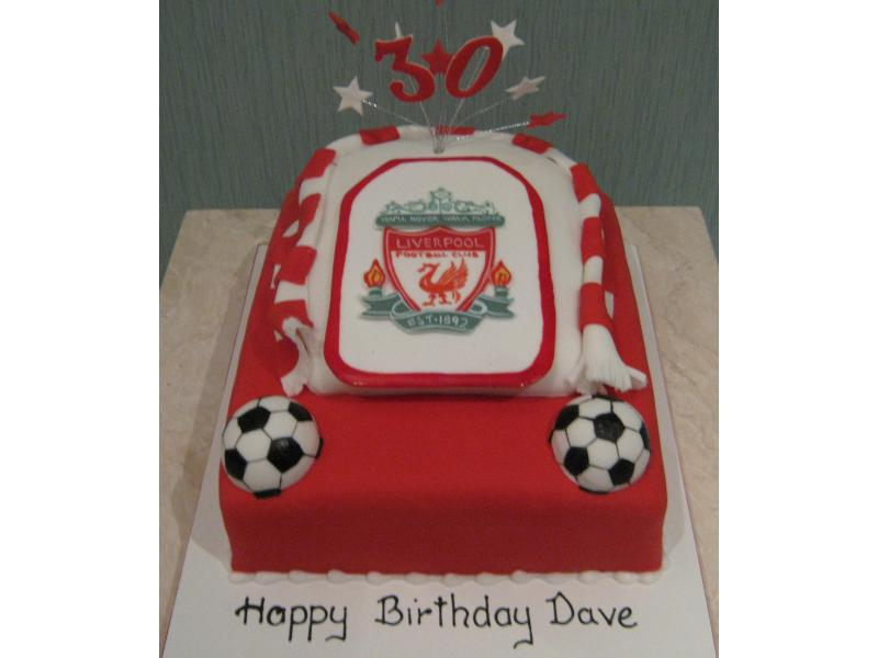 Liverpool FC Crest for Dave's 30th birthday in Blackpool from chocolate sponge