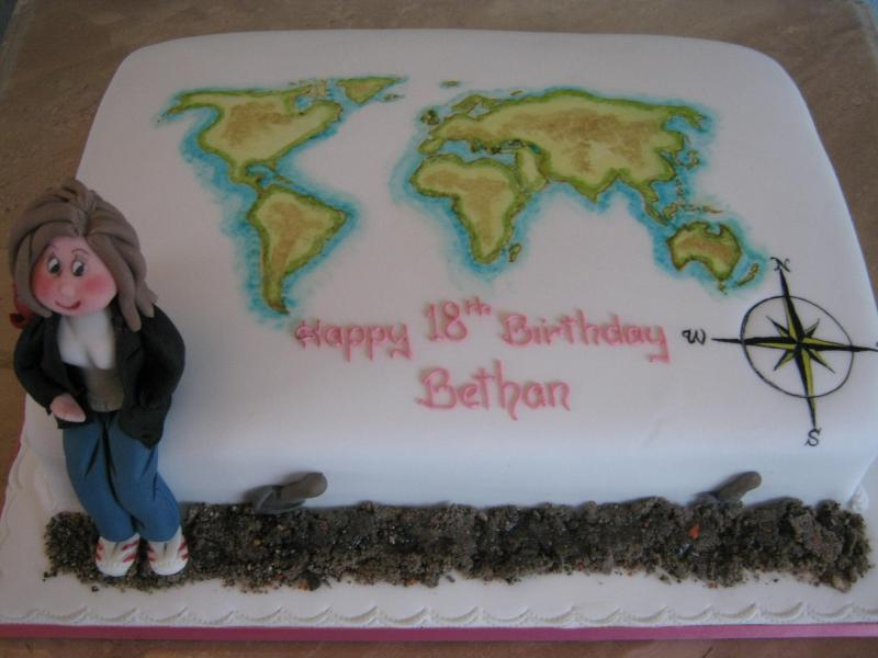 Backpacker cake for geography entusiast Bethan's 18th birthday made from chocolate sponge