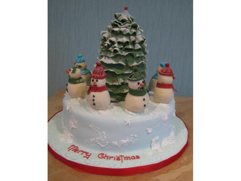 Christmas Scene with Snowmen in fruit cake for Brian in Bispham