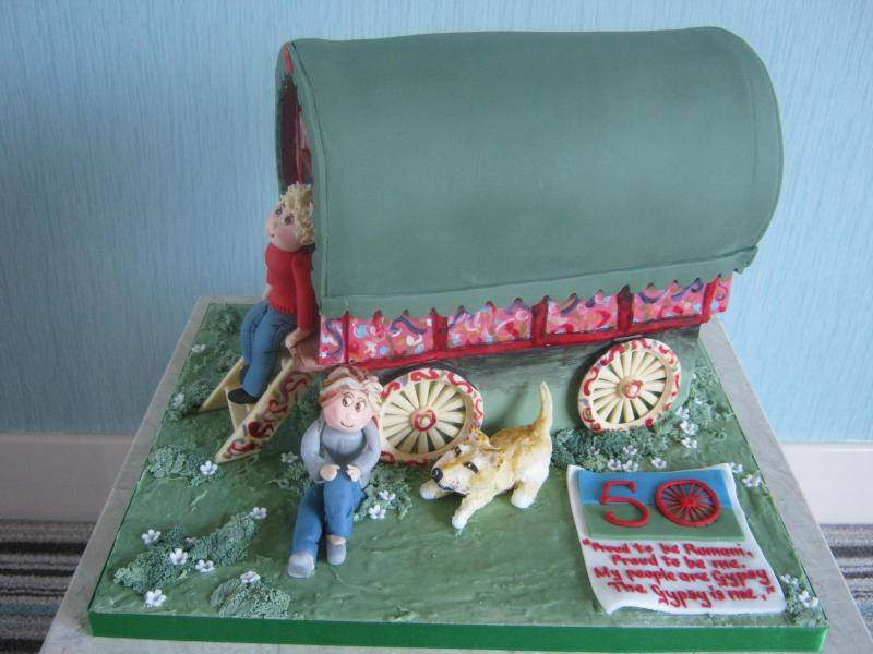 Gypsy Caravan (known as a Varga) for a true Romany's birthday in Preston , made from Madeira sponge