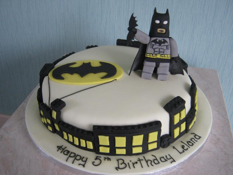 Lego Batman cake for Leland's 5th birthday in Blackpool from chocolate sponge