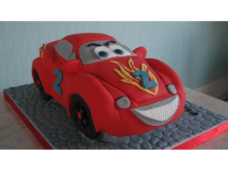 Red Carz in vanilla sponge for Logan's 2nd birthday in Clevevelys