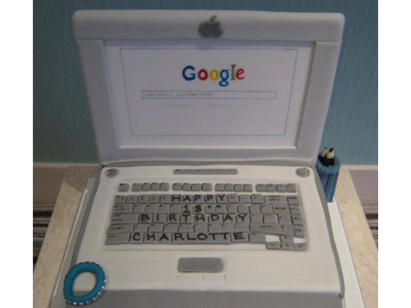 Laptop cake with Google screen in chocolate sponge for Charlotte's 18th in Marton