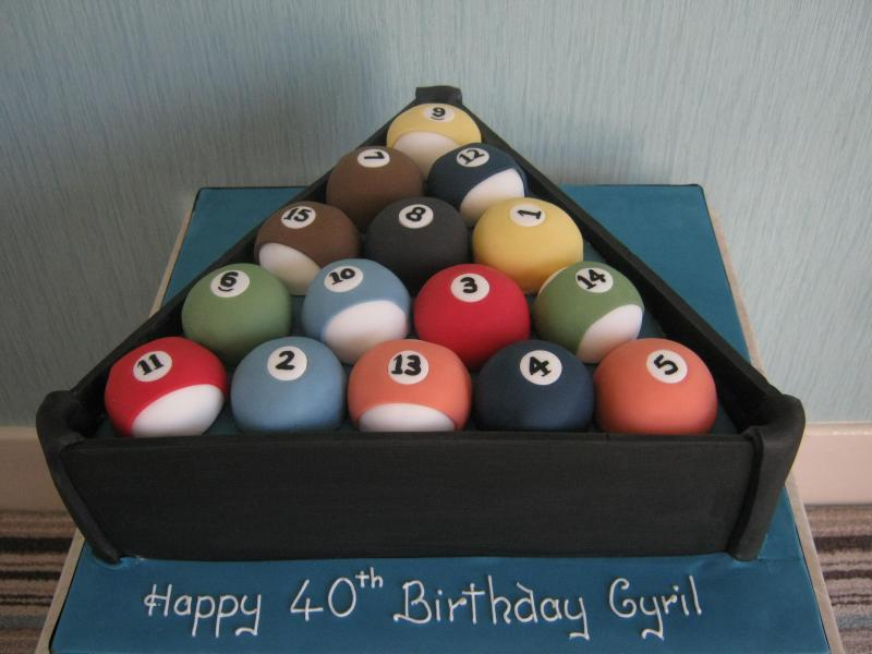 Pool Balls in Frame in vanilla sponge for Cyril's 50th birthdday
