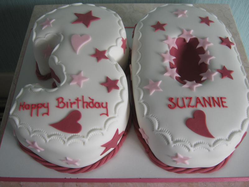 Stars & Hearts in the shape of 30 for Suzanne's birthday in Blackpool. Made from chocolate sponge and Madeira sponge