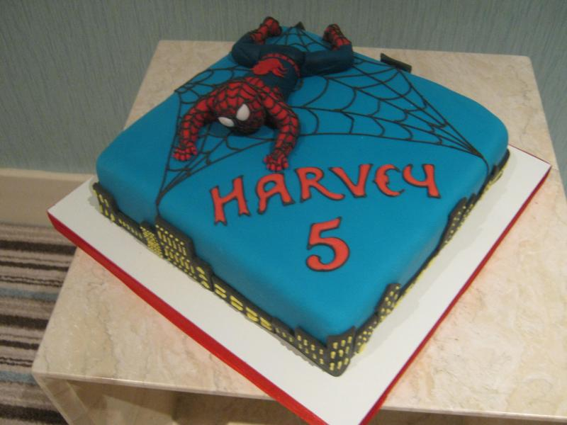 Spiderman in plain sponge with strawberry jam for a special birthday in Preston