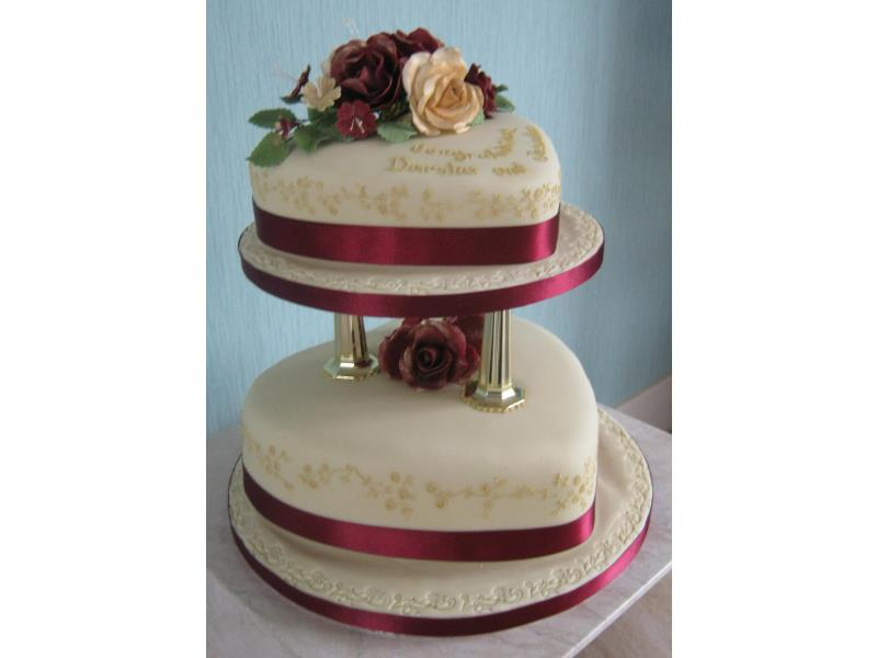 Deena Classic maroon and Old Gold Wedding Cake in Madeira and lemon sponges