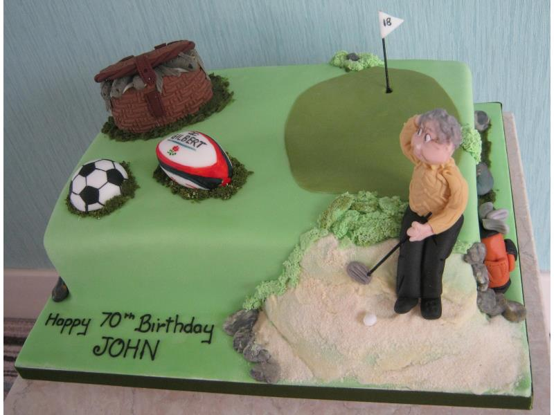 Gardening Gramdma for John's surprise birthday party in Lytham made from Madeira sponge and including golf, rugby, football and fishing