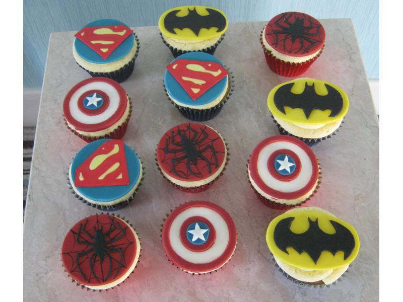 Super Hero cupcake sin dairy-free sponge for Hugo in Cleveleys