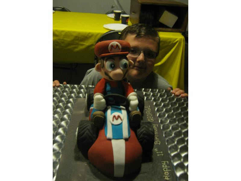 Super Mario and his Kart in chocolate sponge for George's 11th birthday in Blackpool