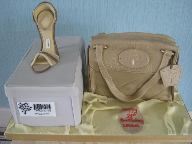 Mulberry shoe, handbag and designer label for Leigh's 21st in Blackpool in chocolate and vanilla sponges