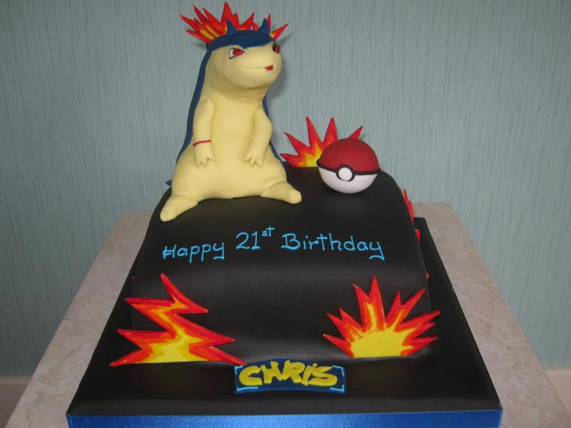 Typhlosion character from Pokemon in chocolate sponge for Chris in Preston