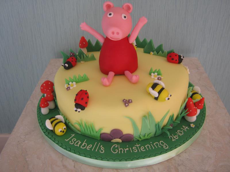Peppa in the country as a Christening Cake, made from plain sponge for Isabella in #Fleetwood