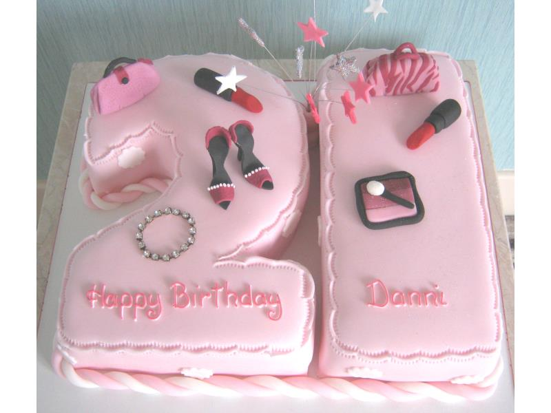Danni - girly and glitzy 21st birthday cake in chocolate sponge for celbrations in 'Urmston