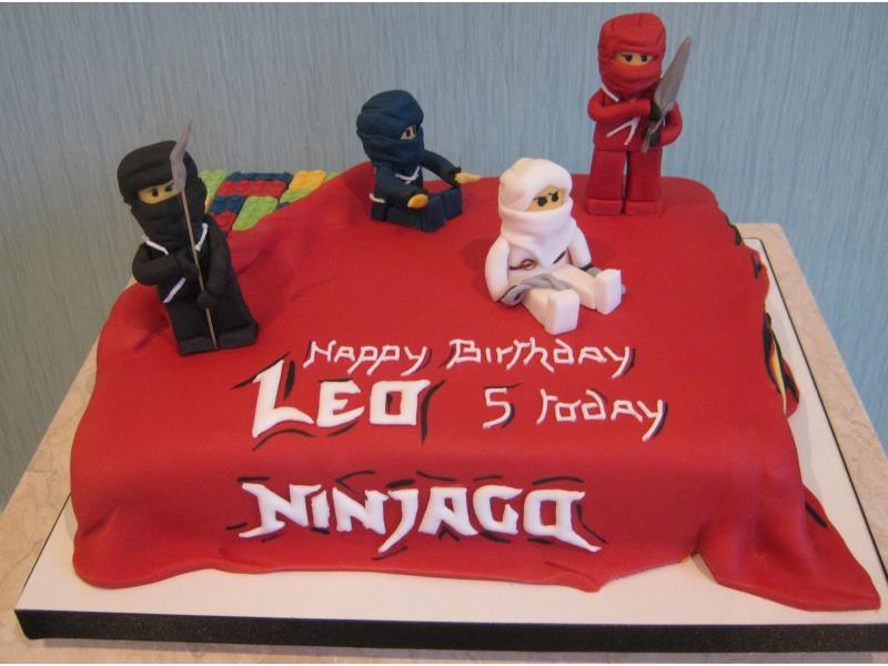 Ninjaga themed cake for Leo's 5th birthday in #Over Wyre, made from chocolate sponge