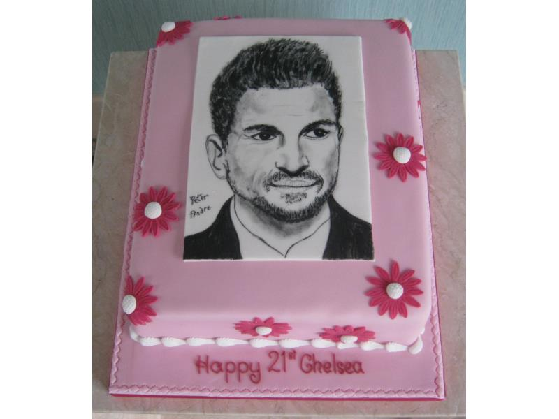Peter Andre - hand painted picture for Chelsea, a huge fan of his in #Freckleton, made from vanilla sponge.