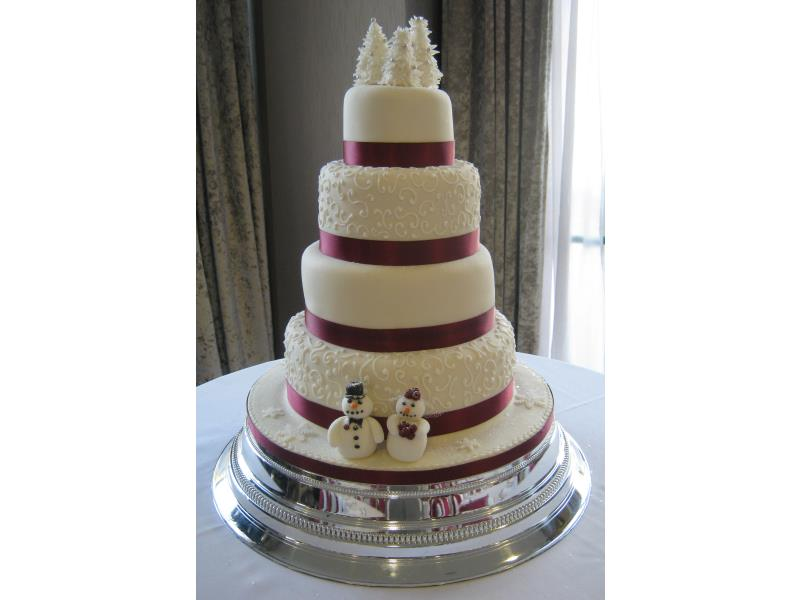 4 tier Burgandy Wedding Cake for Rachel & Stuart at their Reception at #Ribby Hall in #Kirkham, made from plain and lemon sponges and with fruit cake.