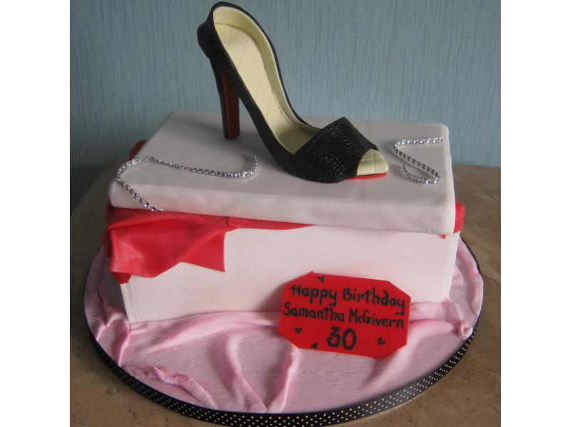 Fashion Fan Samantha loved her shoe and shoe box cake in Madeira sponge from Blackpool