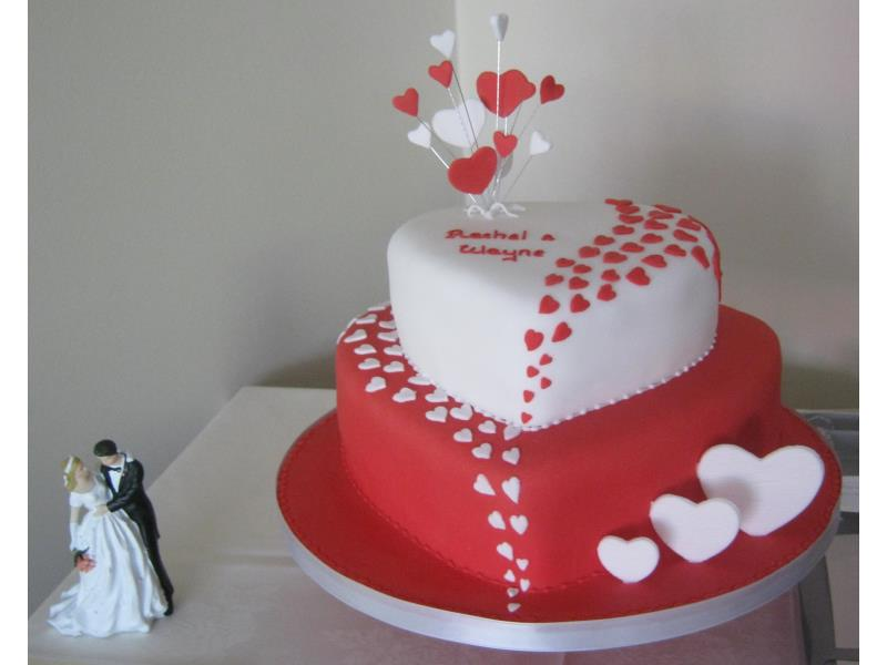 Hearts Galore wedding cake in red and white for Rachel and Wayne in Blackpool, made from plain sponge.