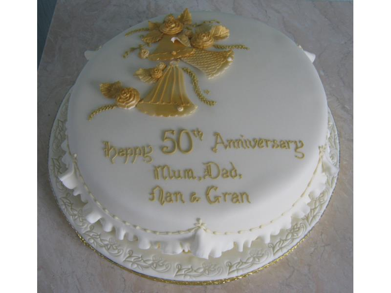 Golden Wedding Anniversary for Andy's grandparents in Lytham , made in chocolate sponge