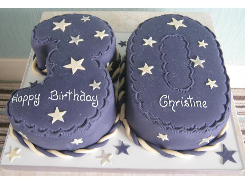 Cadbury purple 30th birthday cake for Christine from Preston in Madeira sponge
