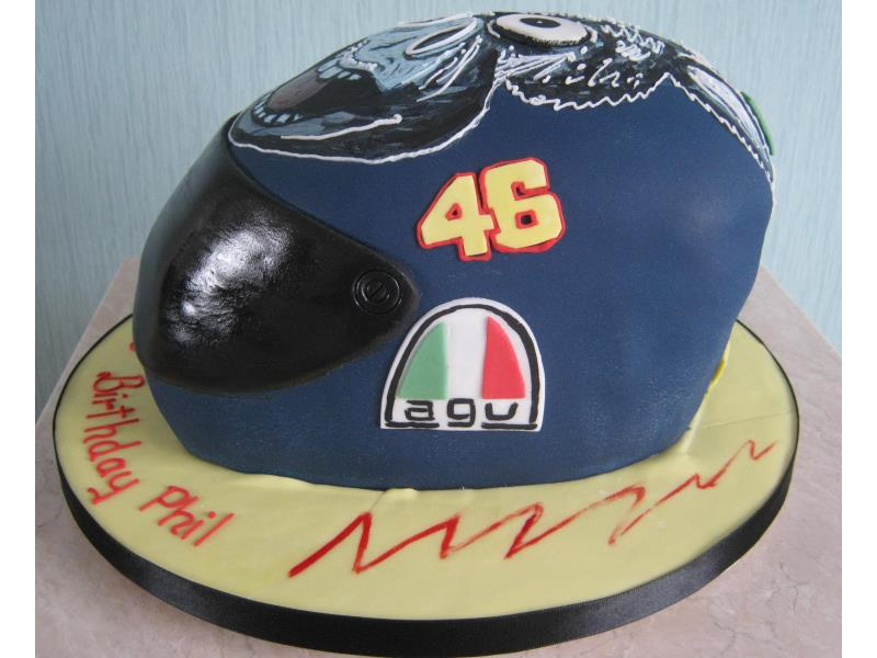 Valantino Rossi's Donkey helmet for Phil in Thornton-Cleveleys from lemon sponge