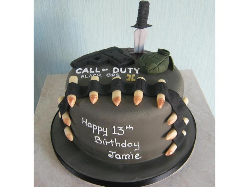 Call of Duty with dagger and bullets for Jamie's birthday in Bispham. Made from Madeira