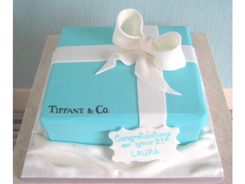 Tiffany Box for laura's 21st in chocolate sponge, held in Blackpool