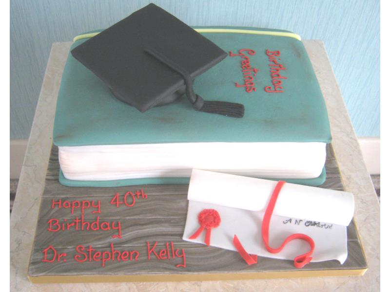 Graduation themed cake with mortar board, book and scroll for Stephen's 40th in St Annes