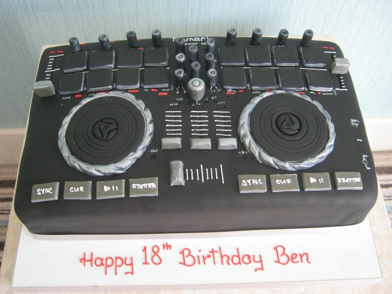 DJ Deck - a copy of Ben's own deck, made from vanilla sponge for his 18th birthday in Blackpool