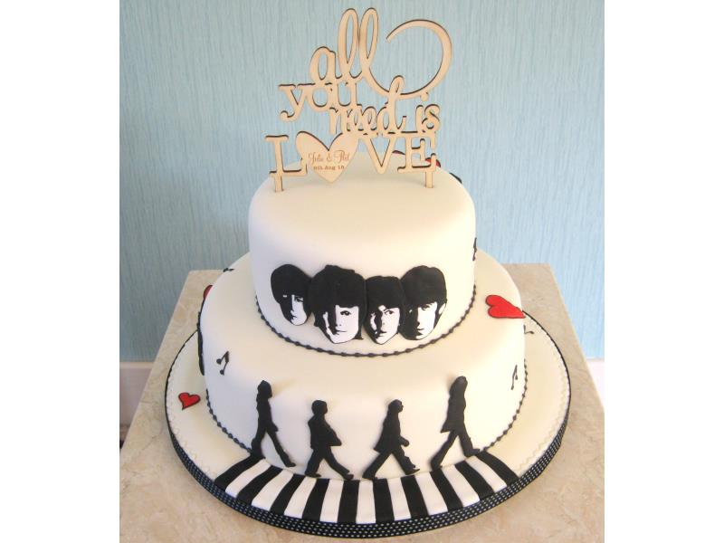Beatles themed cake for Julie & Philip of Thornton-Cleveleys for their wedding at The Cavern Club Museum, made in vanilla and lemon sponges