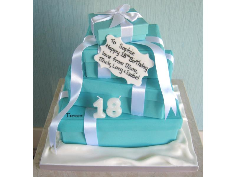 Tiffany mad Sophie's 18th birthday cake in vanilla and chocolate sponges