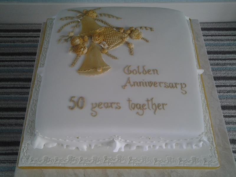 Golden Wedding - Carol & Geoff's 50th wedding anniversary cake in Madeira for lovely couple in Garstang