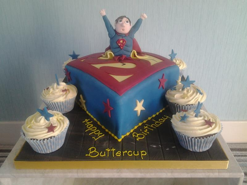 Superman - cake in vanilla ssponge and cupcakes in chocolate sponge for birthday boy in Blackpool