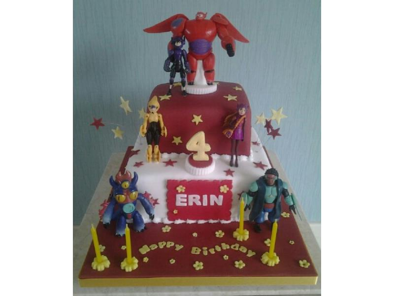 Big Hero 6  in 2 tiered in plain sponge and chocolate sponge for Erin's 4th birthday in Freckleton